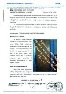 certificazione porta blindata